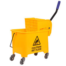 Commercial 5 Gallon Mini Press Mop Bucket with Wringer Rolling Cart Yellow