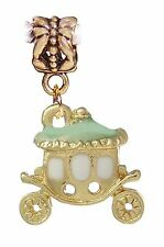 Princess Carriage Mint Green Gold Plated Dangle Charm for European Bead Bracelet