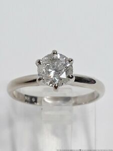 Ultra White .83ct Diamond 14K White Gold Solitaire Ladies Engagement Ring Sz5.5