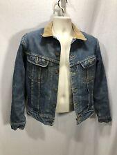 Vintage Mens Lee Denim Jean Barn Coat Jacket Blanket Lined Storm Rider USA Cord