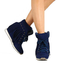 NEW Blue navy Fringes Hidden wedge lace up sneakers WOMEN Ankle booties Size 5.5