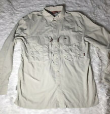 EUC Simms Men's COR 3 Long Sleeve Fly Fishing Shirt Tan Encampment Wyoming Sz M