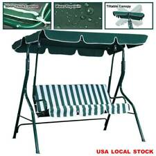 Outdoor Patio Porch Swing Canopy Chair Lounge Hammock 3-Person Seat Green Bench