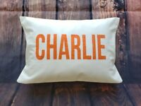 Custom made personalized name white cotton pillow cover. Custom print colors