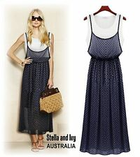 womens polka dot maxi dress size 10 au new