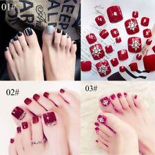 24Pcs/set Fashion Foot False Nail Glitter Rhinestone Fake Toes-Nails With Glue