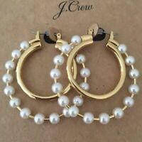 NWT J.CREW Authentic Pearl double-hoop earrings