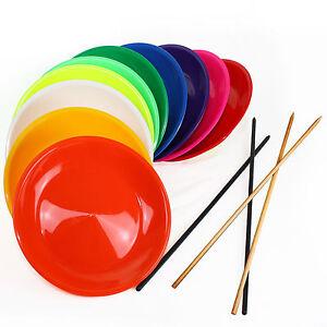 Jonglierteller bunt gemischt zum TOP-Preis mit Holz- oder Kunststoffstab