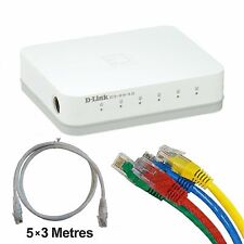 D-Link GO-SW-5G 5-Port Unmanaged Desktop Gigabit Switch + 5x3m Cat6 Patch cords