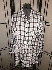 Falls Creek Gray/Black/White Checked Plaid Plus-size 2X Blouse Long-sleeved