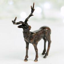 Standing stag, miniature hot cast bronze wildlife sculpture, bonsai figurine