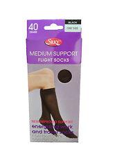Ladies Flight Socks Medium Support Knee High Silky Various Colours New Fits 3-8