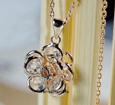 18K Rose Gold Gp Austrian Crystal Big Flower Necklace Free Shipping FB463
