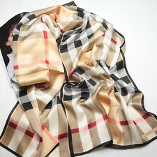 "Women 100% Satin Silk Scarf 67x20"" Hand Sew Shawl Long Wrap yellow 105-034-Y"