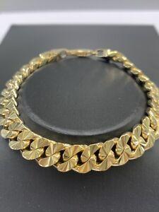 9ct 9K Yellow Gold Diamond Cut Curb Link Bracelet 41.5 Grams 20.5cm. Brand New