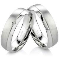 Trauringe Eheringe Partnerringe aus Edelstahl mit Diamant und Lasergravur P338