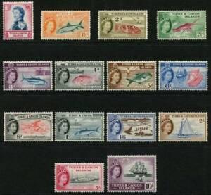 Turks & Caicos Islands Stamps QEII 1957, SG237/250 MM Set 15 Cat £120