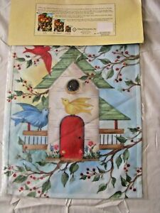 "Garden Flag Toland Art Birdhouse w/ birds & Holly Berries 12.5 X 18"" New"