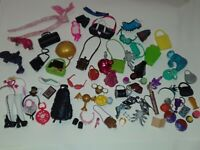 HUGE Lot Of Monster High + EAH Accessories Purses Shoes Clothes Pets Food 70+ pc