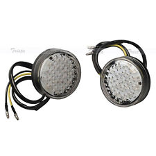 2x20 LED Amber Round Motorcycle ATV Bike Turn Signals Indicator Light Clear 12V