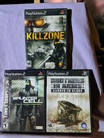 PlayStation 2 Lot of 3 (Brothers in Arms / Splinter Cell / Killzone) Complete