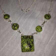 "Chunky mosaico jaspe verde collar de superposición de plata 925 19"" (49 Cm) En Caja De Regalo"