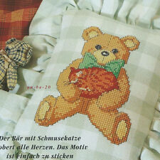 Stick plantilla * oso con mimosa * Teddy con motivo gato almohada punto de cruz