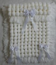 WHITE POM POM TURNOVER BABY GIRL BOY BLANKET, LONG TASSELS AND 3 REMOVABLE BOWS