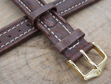 Watch Band Hirsch Livingstone 18mm Brown Leather Mens Water Resistant Vintage