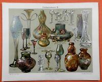 Glaskunstindustrie I-III  Jugendstil Daum Gallé Nancy Tiffany Lithographie 1905