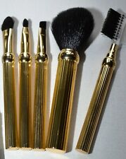 VINTAGE CHRISTIAN DIOR GOLDTONE METAL MAKE-UP BRUSH SET TRAVEL HANDBAG AUTHENTIC