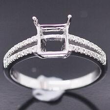 6x6mm Princess Cut 14k White Gold Natural Diamonds Semi Mount Wedding Ring