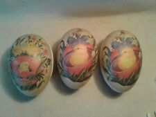 Vintage lot of 3 Paper Mache Echt Erzgabirge Germany Easter Egg Candy Containers