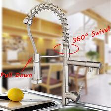 UK Brushed Nickel Pull Down Kitchen Basin Sink Swivel Faucet Mixer Water Taps