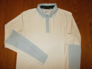NIKE GOLF TOUR PERFORMANCE LONG SLEEVE WHITE POLO SHIRT MENS SMALL EXCELLENT