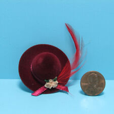 Dollhouse Miniature Lady's Red Hat with Roses and Feather IM65572