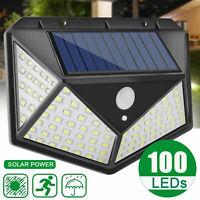 100 LED Solar Wall Light Motion Sensor Outdoor Waterproof Garden Yard Patio Lamp