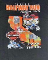 Vintage 2008 Harley Davidson Riders 2XL Black California Fresno Halfway Run Afri