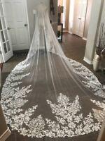 Vintage Wedding Veils Ivory White Blusher  Dropveil 1T Bridal Veil NO Comb Bride