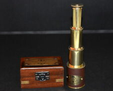 "Antique vintage brass telescope 9"" victorian marine telescope with wooden box"
