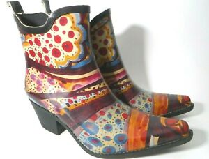 Corkys Women Size 9 Multicolored Abstract Floral Low Cowboy Rubber Rain Boots