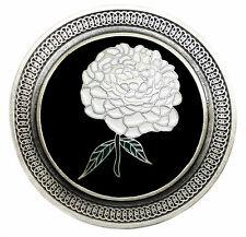 Celtic Flower Belt Buckle Circular Round Black & White Authentic Dragon Designs