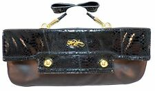 Betsey Johnson Leather Clutch with Black and White Interior Bag Purse Handbag