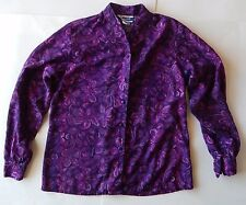Pendleton Classic Purple Pink Flower Pattern Banded Collar Rayon Shirt SIze M