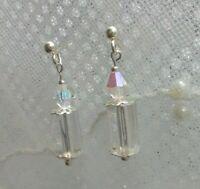 Handmade Aurora Borealis  STUD EARRINGS +Jewellery pouch UK Free P&P