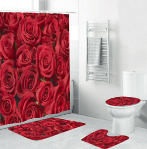 Rose Shower Curtain Set Bathroom Rug Thick Bath Mat Non-Slip Toilet Lid Cover