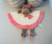 Doudou Plat Hippopotame fourrure Blanc Marron Rose Trèfle  Baby Nat babynat NEUF