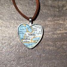 HAMILTON TORONTO CANADA NORTH AMERICA Map Pendant Silver necklace vntg ATLAS
