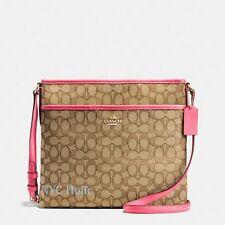 New Coach F58285 Signature File Bag Crossbody Handbag Khaki Strawberry $195 NWT
