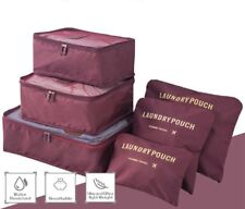 Set of 6 Wine Waterproof Packing Cubes, Travel Pouch, Luggage Organiser, Storage
